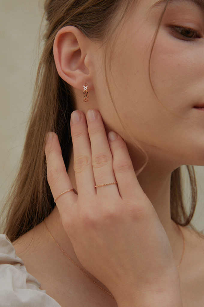 [14K 18K] Zigzag Circle Earrings